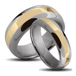 Men's Tungsten Carbide Gold Stripe Ring