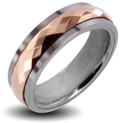 Men's Tungsten Carbide Rose Gold Multi-faceted Prism Spinner Ring (6 mm)