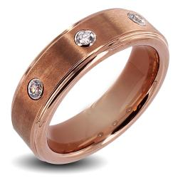Rose Goldplated Tungsten Carbide Cubic Zirconia Ring