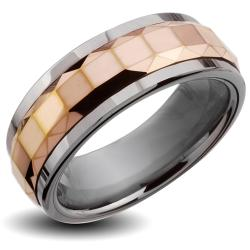 Men's Tungsten Carbide Rose Gold Multi-faceted Square Spinner Ring (8 mm)