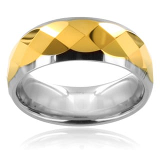 Scratch-Resistant Tungsten Carbide Multi-Faceted Gold Center Ring