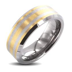 Men's Tungsten Carbide Gold Laser-etched Double Stripe Ring (8 mm)