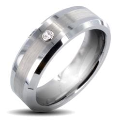 Men's Tungsten Carbide Cubic Zirconia Brushed Center Ring (7 mm)
