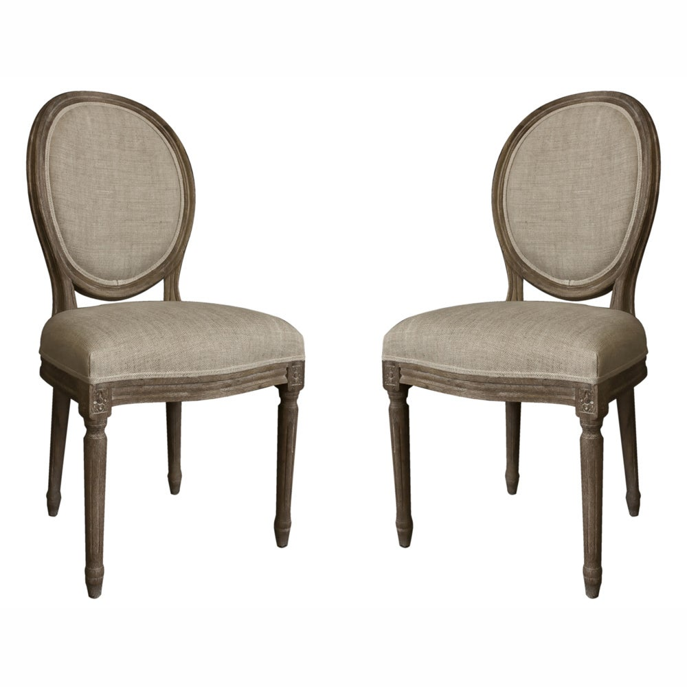vintage french round back upholstered linen dining chairs set of 2