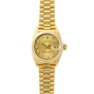 Pre-owned Rolex Women's Datejust President 18 Kt Gold Champagne Diamond Dial Watch