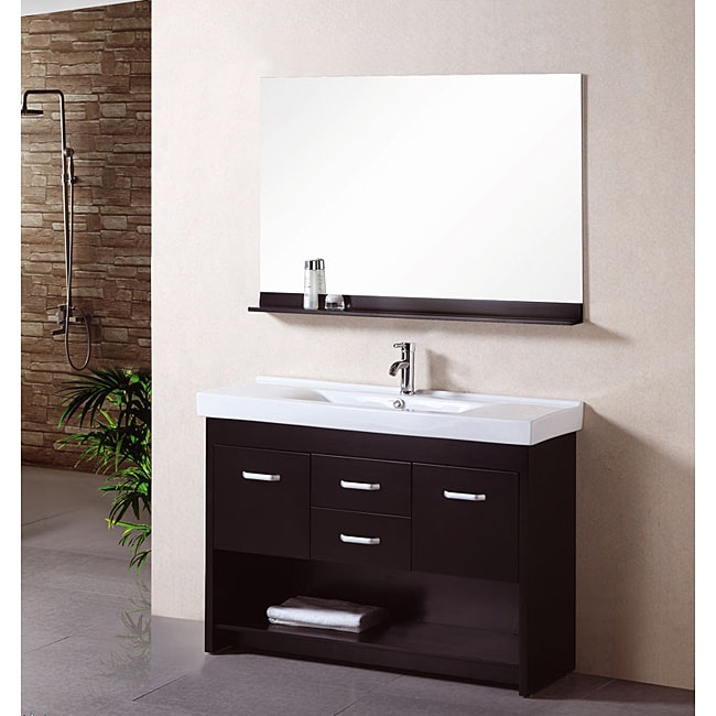design element 48 inch solid wood contemporary single bathroom vanity