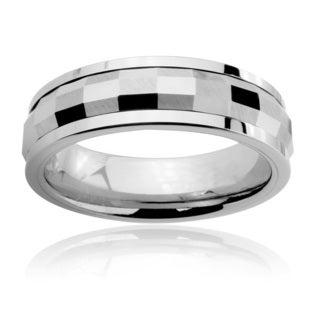 Tungsten Carbide Men's Multi-faceted Rectangle Spinner Ring