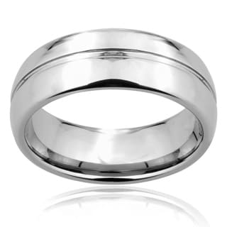 Men's Tungsten Carbide Rounded Edge Grooved Center Ring (8 mm)