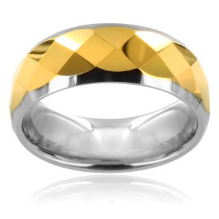 Tungsten Carbide Multi-faceted Gold Center Ring