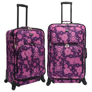 U.S. Traveler US7401L Purple/Pink Bubbles 2-piece Spinner Checked Luggage Set