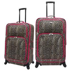 U.S. Traveler US7401R Pink Leopard 2-piece Spinner Checked Luggage Set