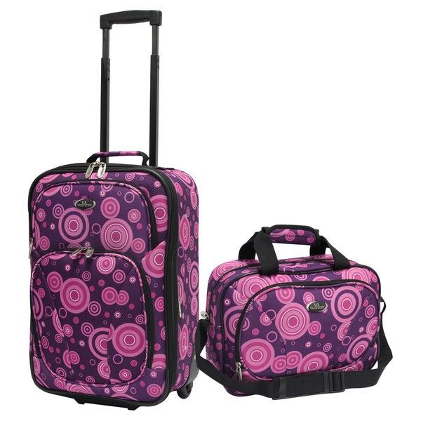 U.S. Traveler by Traveler's Choice Purple Bubbles Fashion 2-piece Carry-on Luggage Set