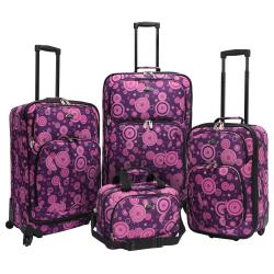 U.S. Traveler by Traveler's Choice Purple/Pink Bubbles 4-piece Spinner Luggage Set