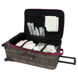 U.S. Traveler Pink Leopard Fashion 4-piece Spinner Luggage Set