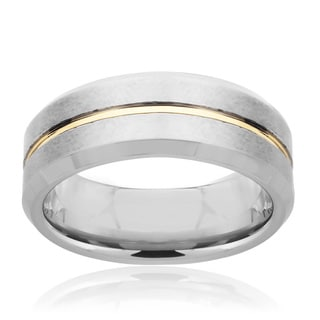 Tungsten Carbide Men's Gold Groove Ring