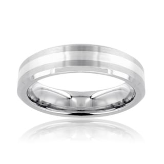 Tungsten Carbide Silver Stripe Inlay Beveled Edge Ring