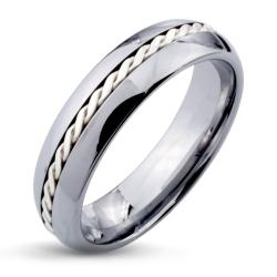 Tungsten Carbide Silver Rope Inlay Beveled Edge Ring
