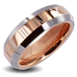 Men's Tungsten Carbide Rose Gold Roman Numeral Ring (6 mm)