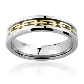 Men's Tungsten Carbide Gold Chain Link Inlay Ring (6 mm)