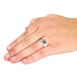 Men's Tungsten Carbide Dual Brushed and Polished Beveled Edge Ring (8 mm)
