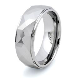 Men's Tungsten Carbide Faceted Prism Ring (8 mm)