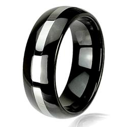 Men's Scratch-Resistant Tungsten Carbide Two-Tone Black-Plated Ring (8 mm)