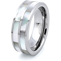 Tungsten Carbide Dual Mother of Pearl Inlay Ring