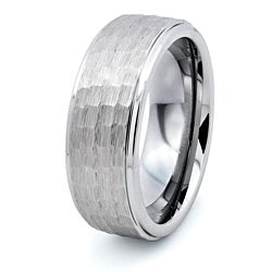 Tungsten Carbide Men's Hammered Finish Ring