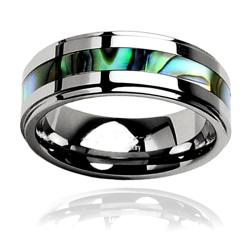 Men's Tungsten Carbide Abalone Inlay Ring