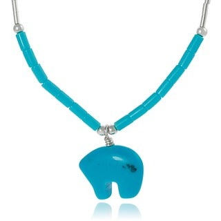 Journee Collection Sterling Silver Children's Created Turquoise Bear and Beads Necklace