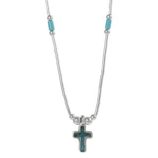 Tressa Sterling Silver Children's Created Turquoise Cross Necklace