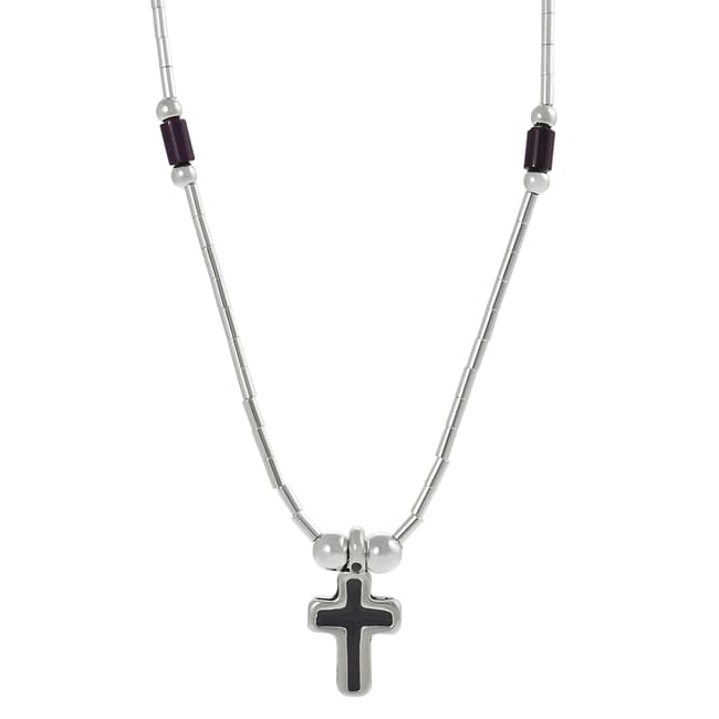 Journee Collection Sterling Silver Children's Purple Enamel Cross Necklace