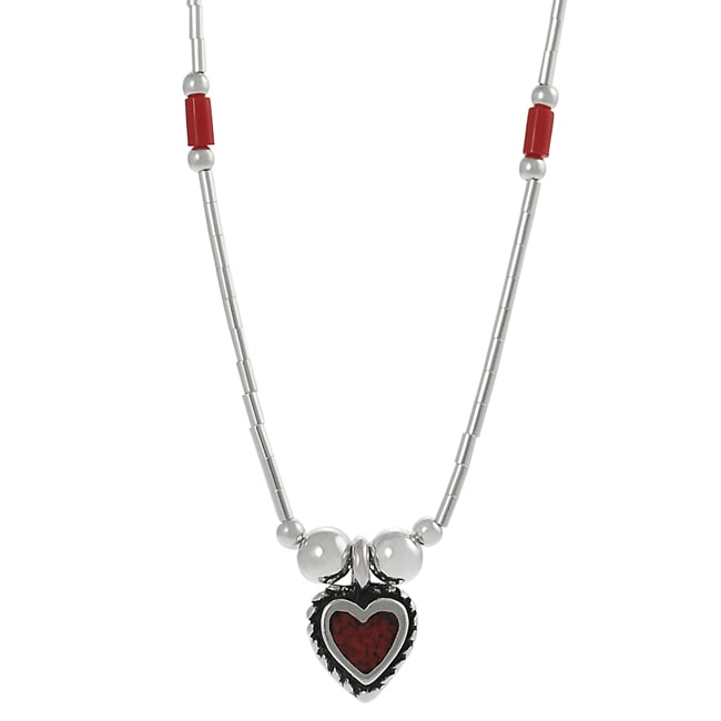 Journee Collection Sterling Silver Children's Created Red Coral Heart Necklace
