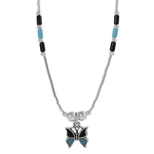 Silver Children's Black and Turquoise Enamel Butterfly Necklace