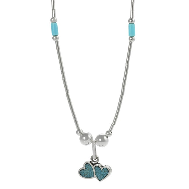 Journee Collection Sterling Silver Children's Created Turquoise Inlay Heart Necklace