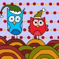 Ankan 'Christmas Owls 2' Gallery-wrapped Canvas Art