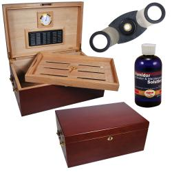 Cuban Crafters Perfecto Humidor with Cigar Cutter & Humidor Solution