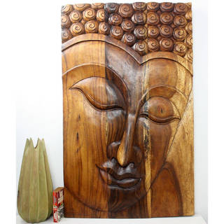 Hand-carved 30 x 47 Walnut Oiled 'Serene Buddha' Acacia Panel (Thailand)