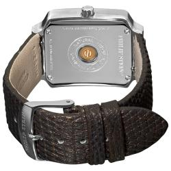 Philip Stein Women's Classic Metallic Brown Leather Strap Watch
