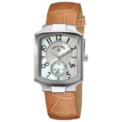 Philip Stein Women's Classic Water-Resistant Almond Leather Strap Watch