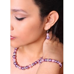Purple and Mauve Glass Pearl Necklace and Earring Set