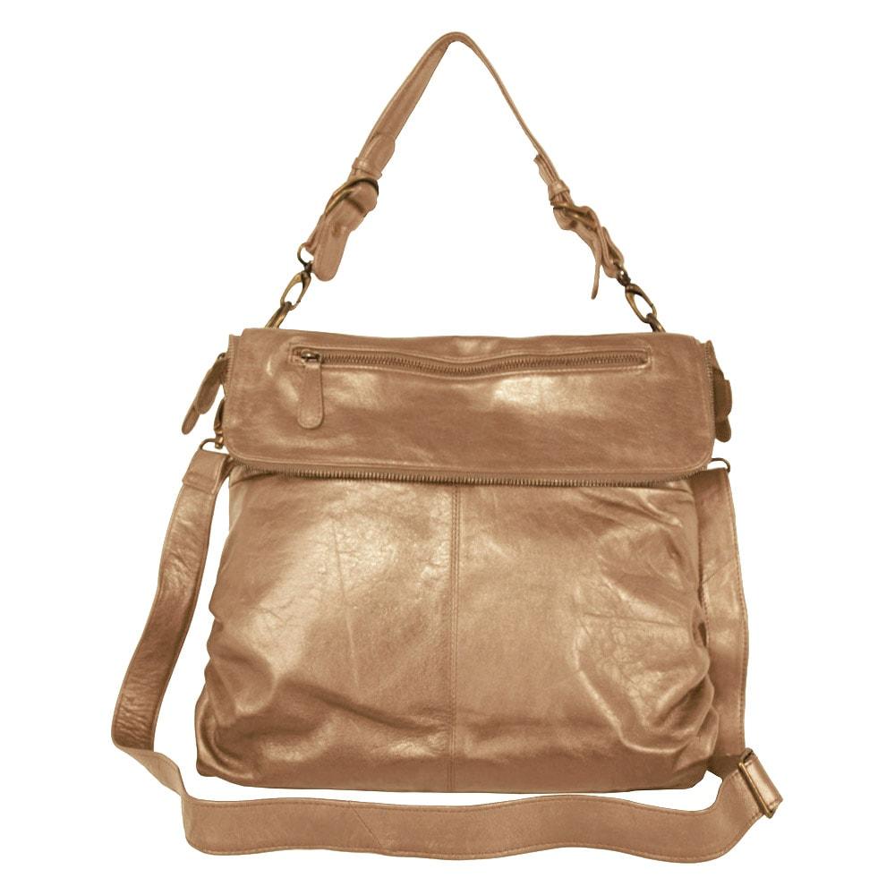 Latico Mimi Flapover Convertible Metallic Taupe Shoulder Bag
