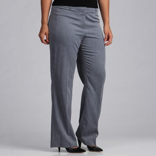 Evan Picone Women's Navy Blue Patterned Pants