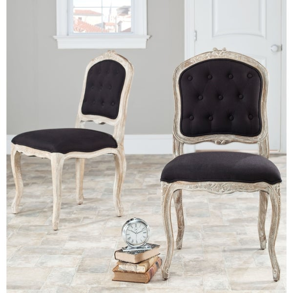 Safavieh Old World Dining Montreux Black/ Antiqued White Side Chairs (Set of 2)