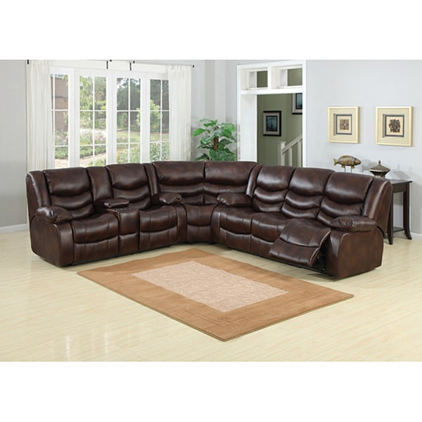 Pulsar Dark Brown Leather Sectional Sofa Set