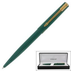 Parker '15' Green Lacquer Gold Trim Ballpoint Pen