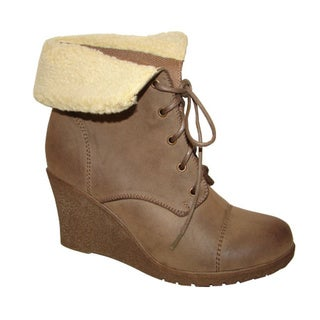 Bucco Ladies 'Jorita' Taupe Wedge Lace Up Booties