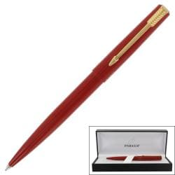 Parker '15' Red Lacquer Gold Trim Ballpoint Pen