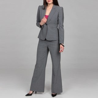 Tahari Women's Grey Shawl Collar Pant Suit