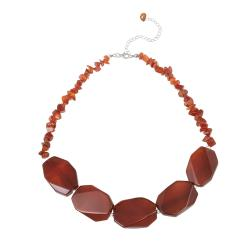 Glitzy Rocks Sterling Silver Carnelian Nugget and Chip Necklace